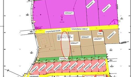 Teilungsplan gesamt, Detail 1.500 m²